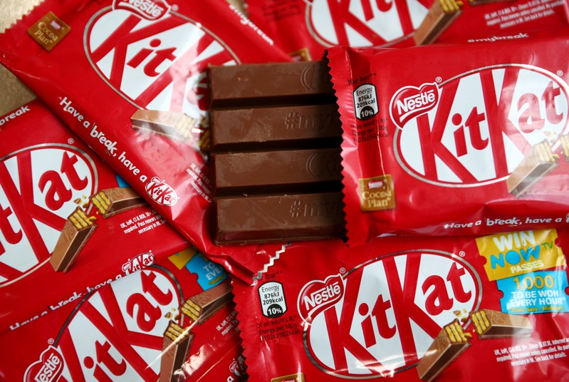 FILE PHOTO: Kit Kat chocolate covered wafer bars manufactured by Nestle are seen in London