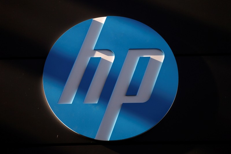 FILE PHOTO: A Hewlett-Packard logo is seen at the company's Executive Briefing Center in Palo