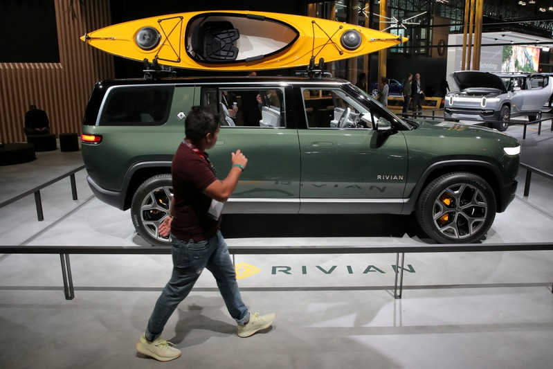 FILE PHOTO: A Rivian R1S All-Electric SUV is displayed at the 2019 New York International Auto