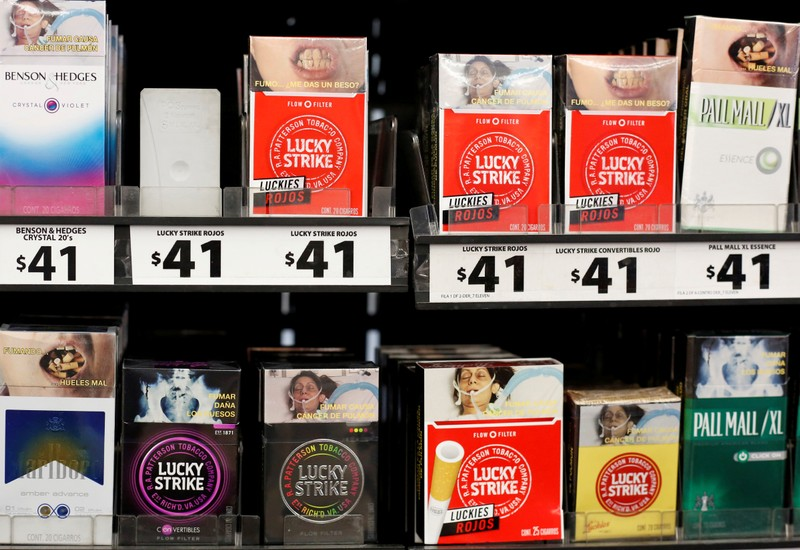 FILE PHOTO: Packs of Lucky Strike cigarettes are displayed for sale at a convenience store in