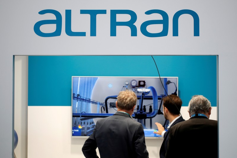 FILE PHOTO: The logo of Altran is pictured at the World Nuclear Exhibition (WNE), the trade