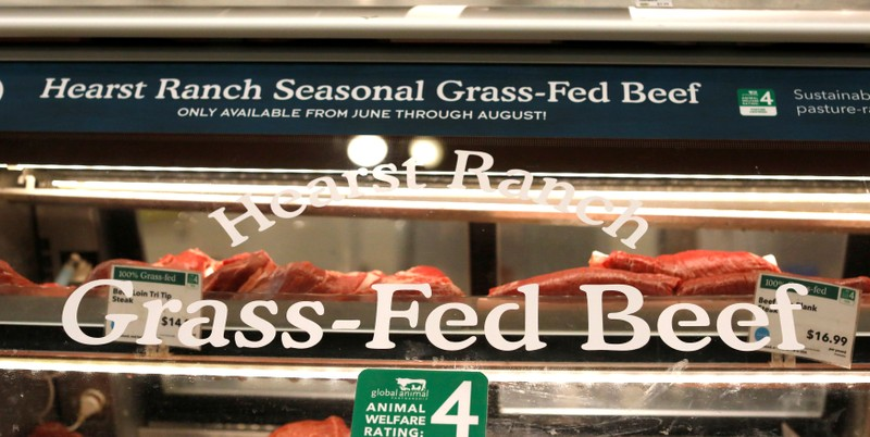 FILE PHOTO: Grass-fed beef products are pictured at a Whole Foods Market in Pasadena