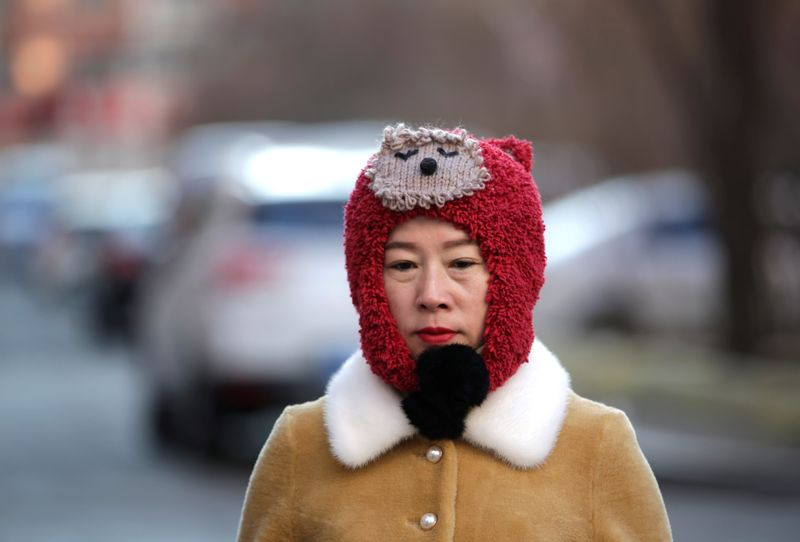 A woman walks at a residential area on a cold winter day in Harbin