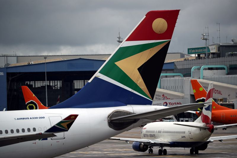 FILE PHOTO: Logo of SAA is seen on an aircraft at O.R. Tambo International Airport in