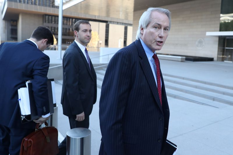 Plaintiff attorney L. Lin Wood arrives for a pretrial hearing for a defamation case in which