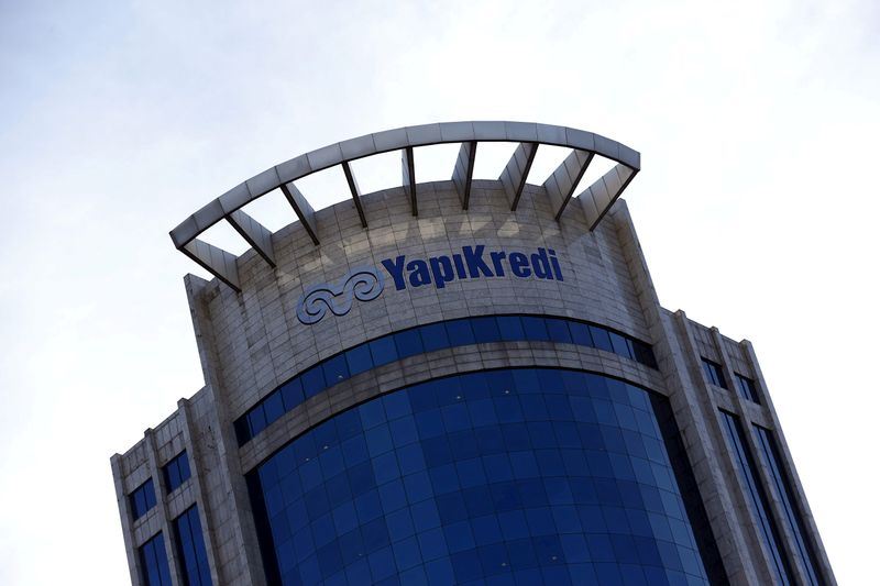 FILE PHOTO: Yapi Kredi Bank headquarters is pictured in Istanbul