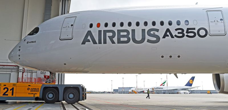 FILE PHOTO: An Airbus A350 XWB flight-test aircraft is towed during a media-day at the German