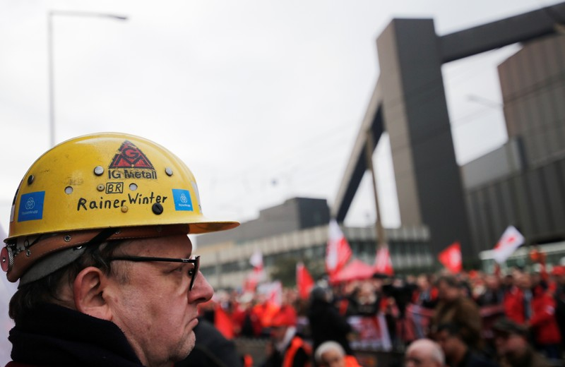 ThyssenKrupp AG workers protest in Duisburg