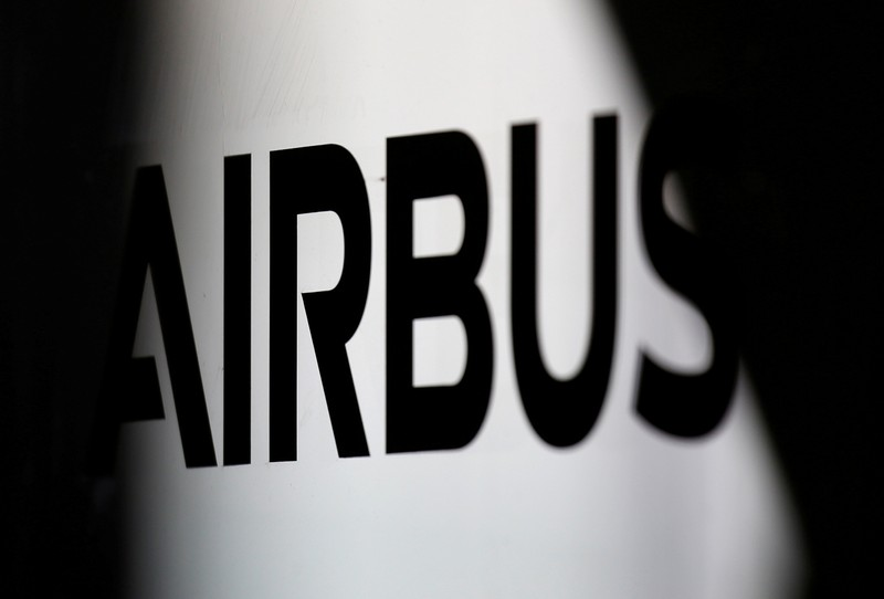 FILE PHOTO: The logo of Airbus is pictured at the aircraft builder's headquarters of Airbus in