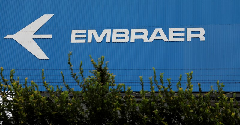 The logo of Brazilian aviation company Embraer is seen on a factory in Sao Jose dos Campos