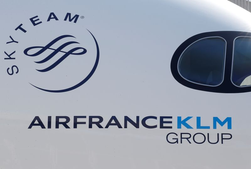 Logo of Air France KLM Group is pictured on the first Air France airliner's Airbus A350 during