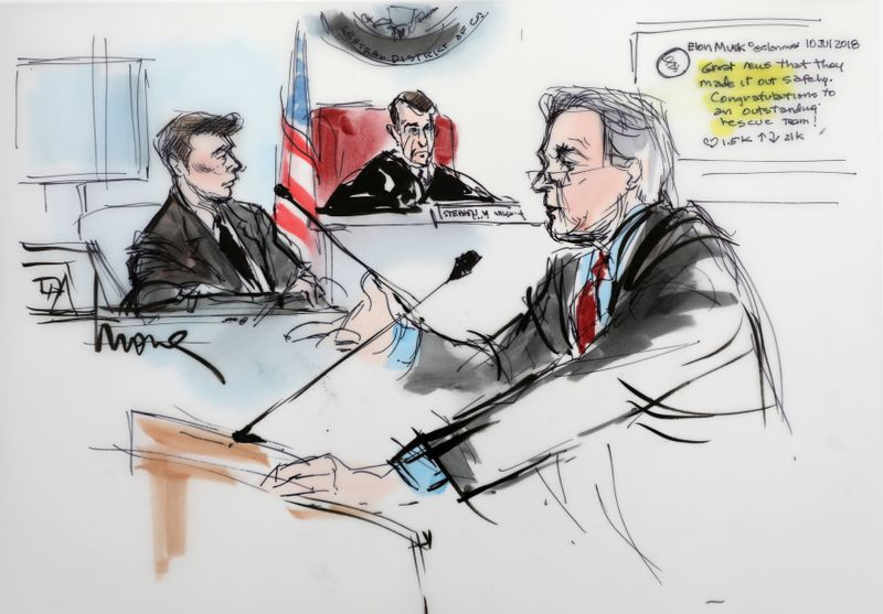 Plaintiff attorney L. Lin Wood is shown with Elon Musk and Judge Stephen Brown looking on, in a