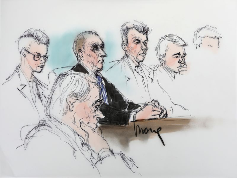 British cave diver Vernon Unsworth is shown in a courtroom drawing during the trial in a