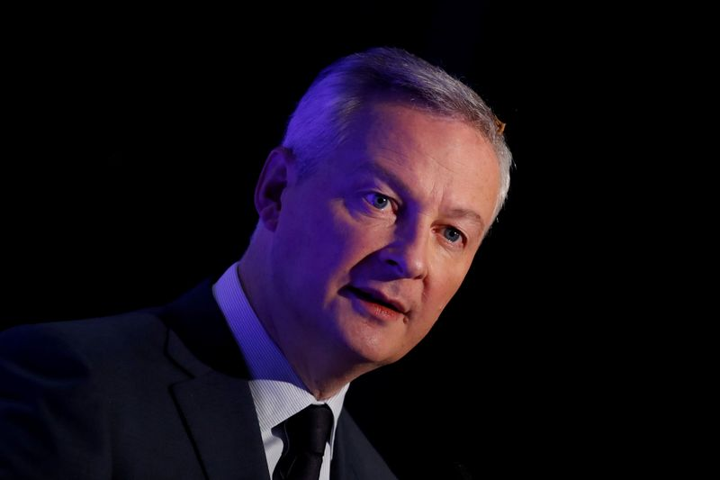 FILE PHOTO: French Finance Minister Bruno Le Maire attends a news conference in