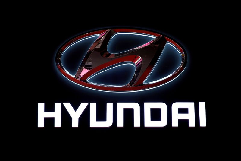 FILE PHOTO: The logo of Hyundai Motor is pictured at the second media day for the Shanghai auto