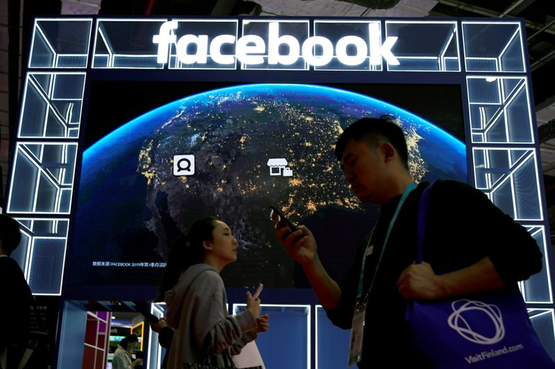 FILE PHOTO: A Facebook sign is seen at the second China International Import Expo (CIIE) in