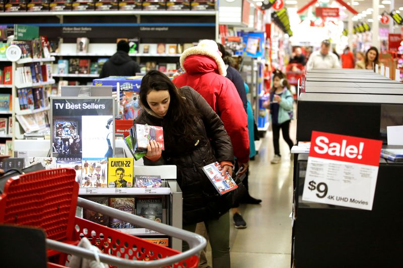 FILE PHOTO: Customers shop during Black Friday sales at a Target store in Chicago