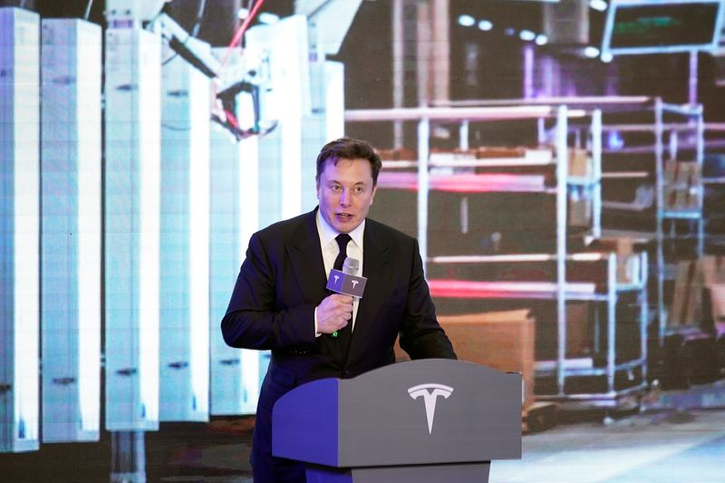 Tesla Inc CEO Elon Musk attends an opening ceremony for Tesla China-made Model Y program in