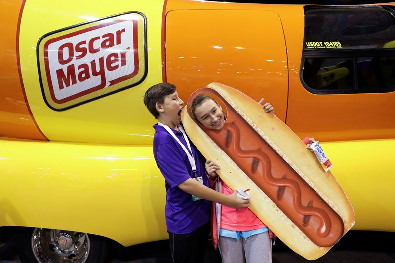 FILE PHOTO: DJ O'Keefe and his sister Dallas pose for a photo with the Oscar Mayer Weiner