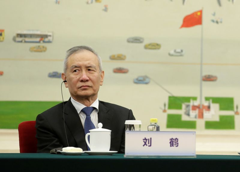 Chinese Vice Premier Liu He attends a meeting with delegates from the 2019 New Economy Forum in