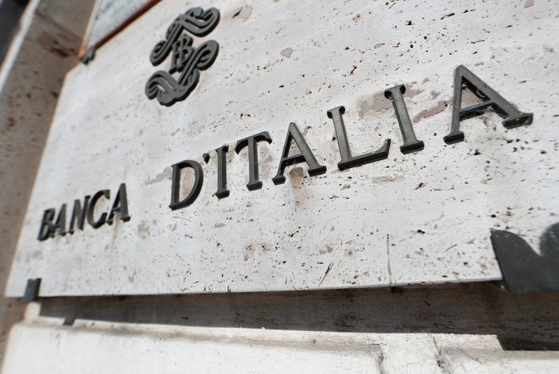 Banca D'Italia sign is seen in downtown Rome
