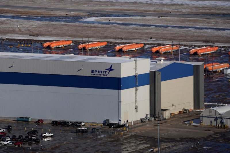 FILE PHOTO: Airplane fuselages bound for Boeing's 737 Max production facility sit in storage