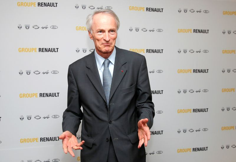 FILE PHOTO: Chairman of Renault SA Jean-Dominique Senard attends a news conference at French
