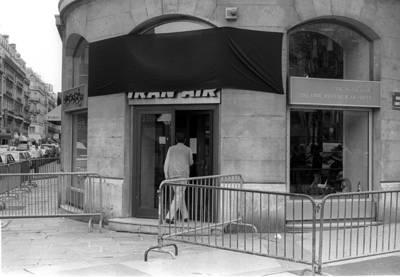 FILE PHOTO: The Paris office of Iran Air is draped with a black shroud following the downing of