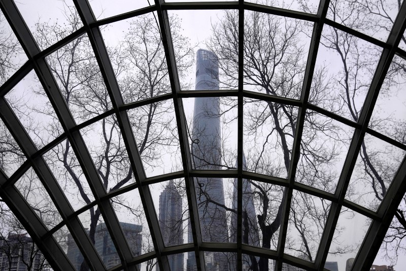 Surveillance cameras are seen at Lujiazui financial district of Pudong