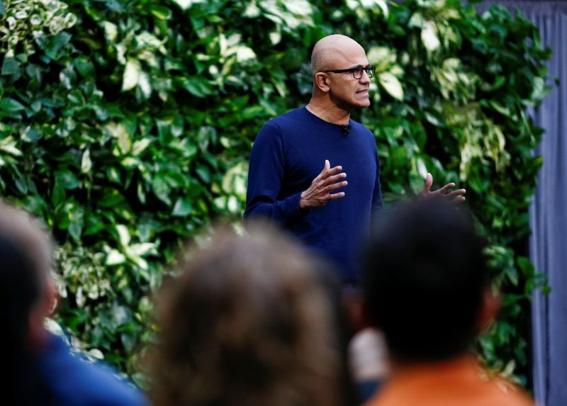 Microsoft CEO Nadella speaks as the company announces plans to be carbon negative by 2030 and