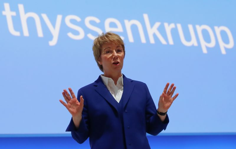 Martina Merz, CEO of German steelmaker Thyssenkrupp AG, attends the annual shareholders meeting