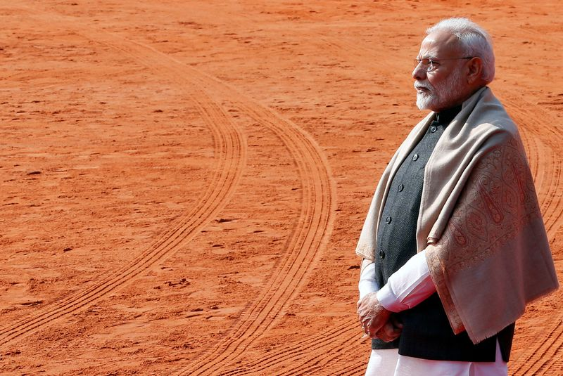 FILE PHOTO: India's Prime Minister Modi waits to receive Brazil's President Bolsonaro during a