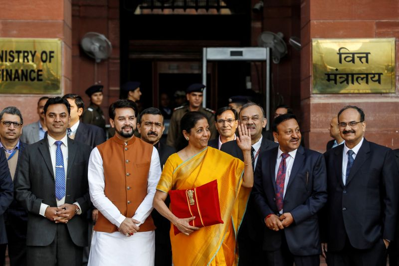 FILE PHOTO: India's Finance Minister Nirmala Sitharaman holds budget papers as she leaves her
