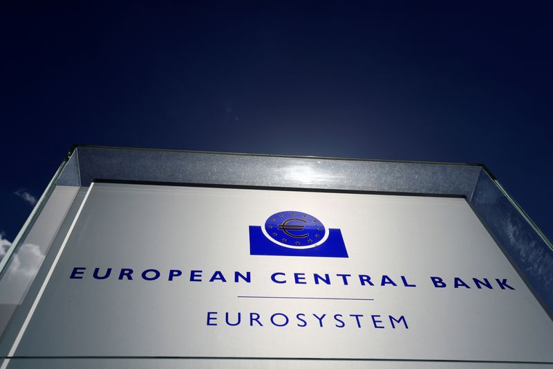 The logo of the European Central Bank (ECB) is pictured outside its headquarters in Frankfurt