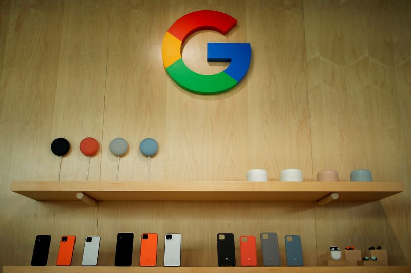 FILE PHOTO: The new Google Pixel 4 smartphone and accessories are displayed during a Google