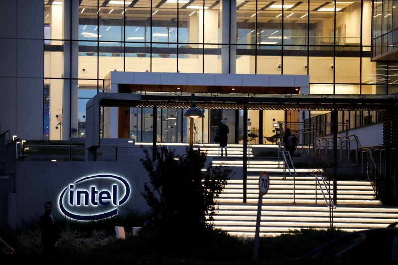 U.S. chipmaker Intel Corp's logo is seen at the entrance to their