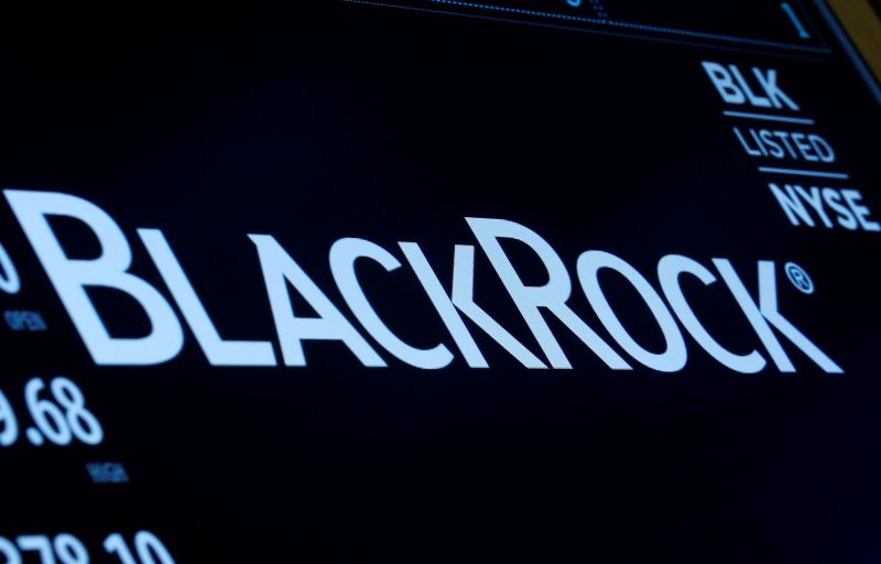 FILE PHOTO: The company logo and trading information for BlackRock is displayed on a screen on