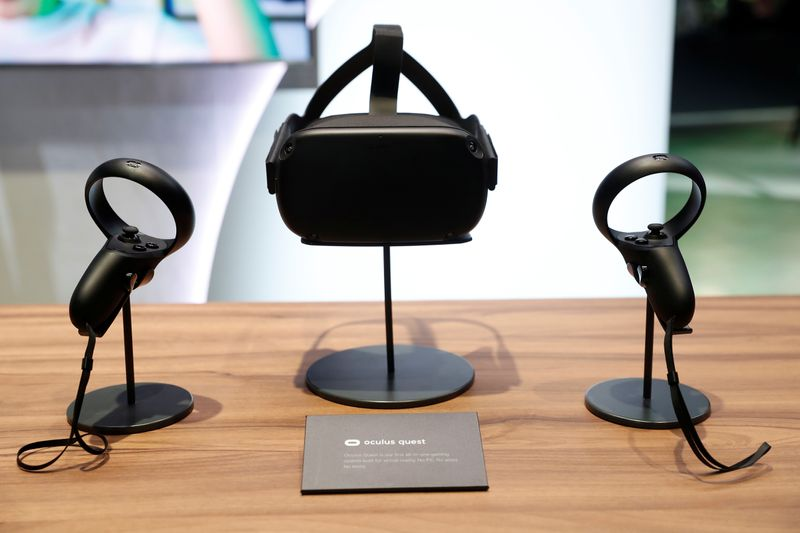 The Oculus Quest wireless virtual reality headset is seen on a display during Facebook Inc's F8