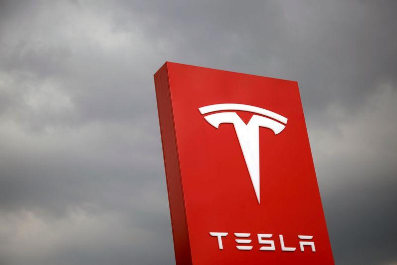 FILE PHOTO: The logo of Tesla is seen in Taipei