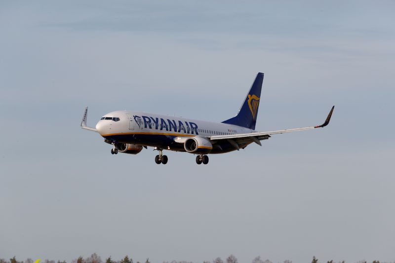 FILE PHOTO: Ryanair Boeing 737-8AS plane EI-EKG approaches Riga International Airport in Riga