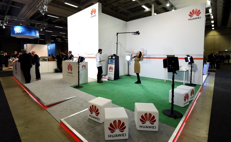 FILE PHOTO: Huawei booth at the Social Democratic Party (SPD) congress in Berlin