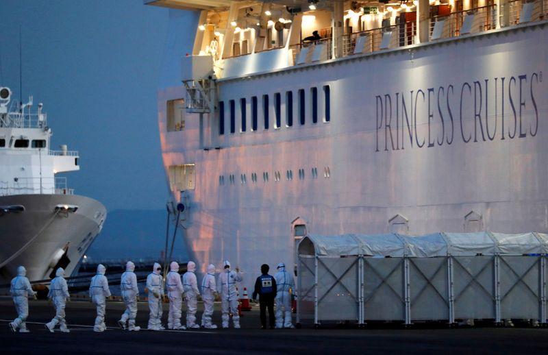 FILE PHOTO: Cruise ship Diamond Princess arrives at Daikoku Pier Cruise Terminal in Yokohama