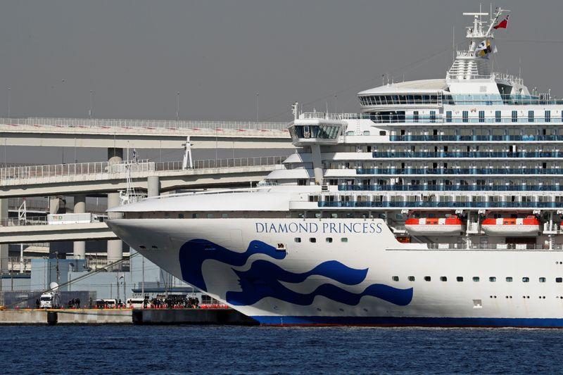 FILE PHOTO: Cruise ship Diamond Princess at Daikoku Pier Cruise Terminal in Yokohama