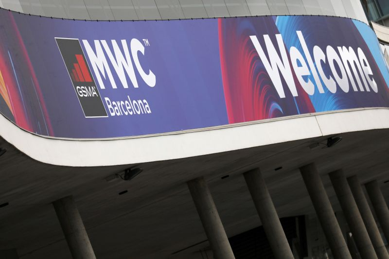 Logo of MWC20 is pictured in Barcelona