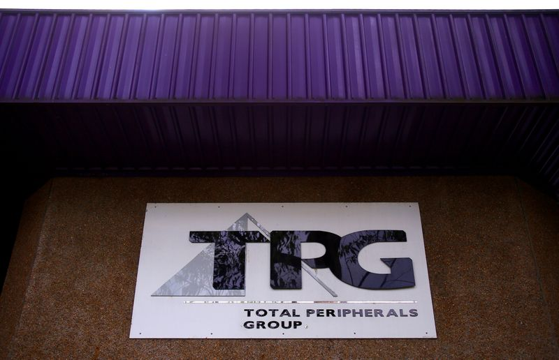 FILE PHOTO: The logo of Australia's TPG Telecom Ltd can be seen outside their head office in