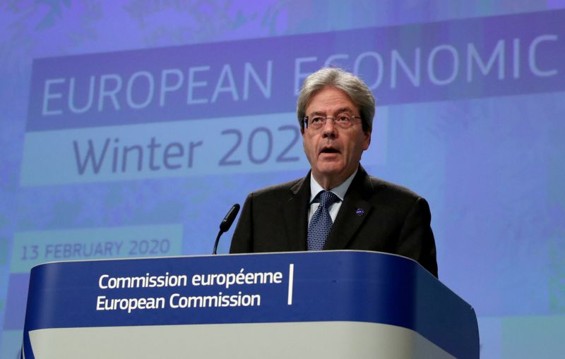 European Economic Commissioner Paolo Gentiloni addresses a news conference on the EU's winter