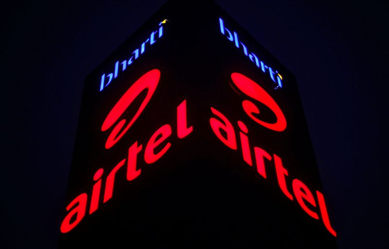 A Bharti Airtel office building is pictured in Gurugram