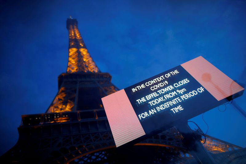 FILE PHOTO: The Eiffel Tower is seen next to a board that reads: