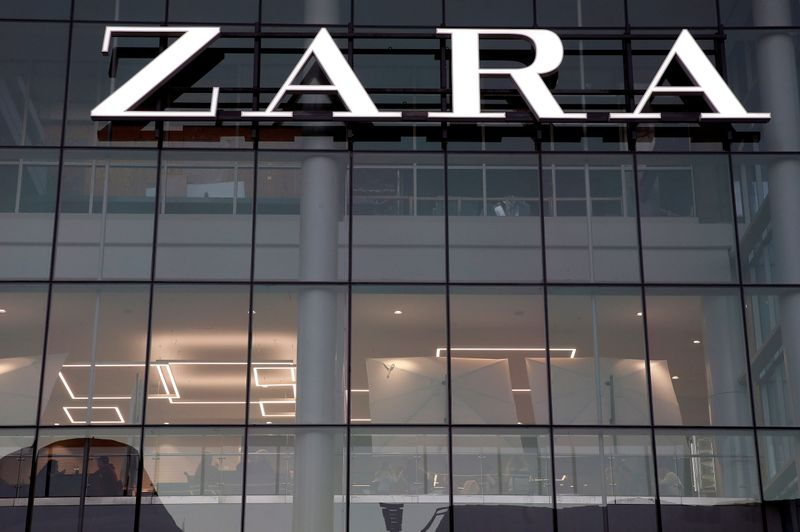 FILE PHOTO: The logo of the Zara store is seen in a mall at Vina del Mar