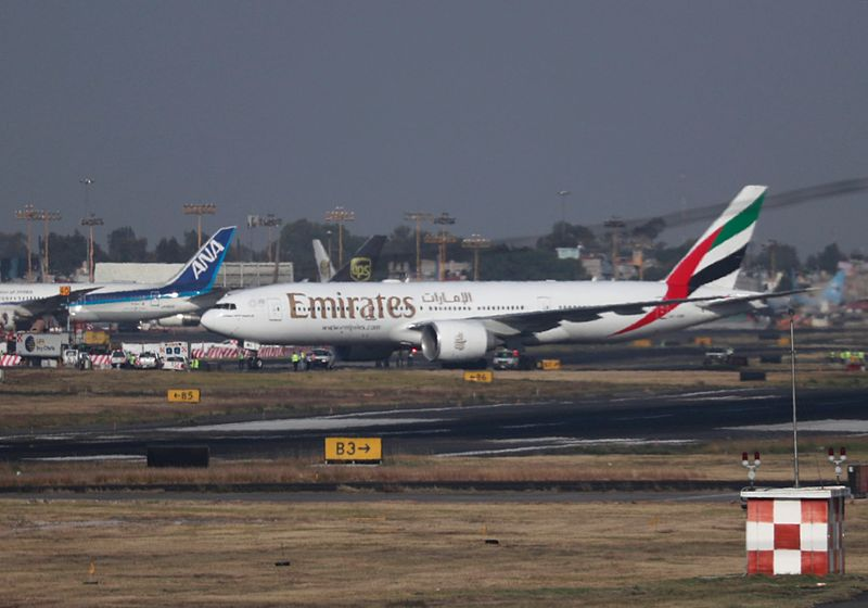 FILE PHOTO: Emirates Airline Boeing 777-200LR lands at Mexico City International Airport during